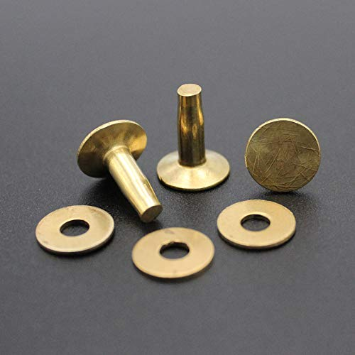 50 Sets Rivets for Leather Solid Brass Copper Rivet with Burrs/washers Cap 11mm Length 14mm by AIBOAT