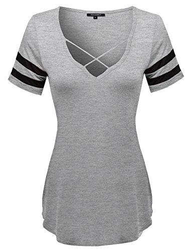 Loose Fit Soft Stretch Varsity Strappy V-Neck Short Sleeve Tee Top HGREY Size L (Subtle Jersey Top Stripe)