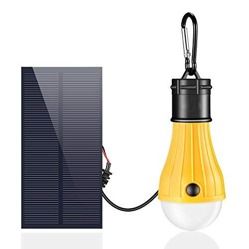 Portable Solar Lights, iLitStargo 165LM Waterproof Emergency Lights Solar Powered Dimmable Light Bulb with 1000mAh Rechargeable Battery for Outdoor, Tent, Camping, Home (Yellow) [並行輸入品] B07RB2FPG6