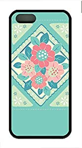 Illustration Style Flower Cover Case Skin for iPhone 5 5S Soft pc Black