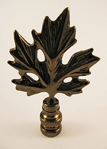 Finial Leaf Lamp - Maple Leaf Lamp Finial in Anrtiqued Brass - 2.75 Inches High