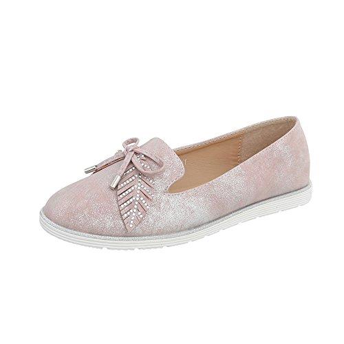 Ital-Design Slipper Damen-Schuhe Halbschuhe Rosa Silber, Gr 40, N-58-