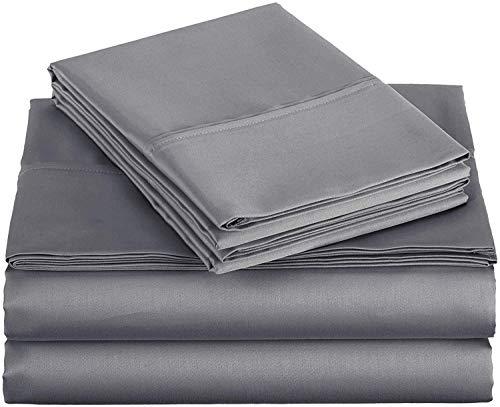 4 pcs Sheet Set Ultra Soft- Brushed Microfiber with Top Header – Wrinkle & Fade Resistant, Hypoallergenic Sheet & Pillow Case Set Full Size Dark Grey Solid