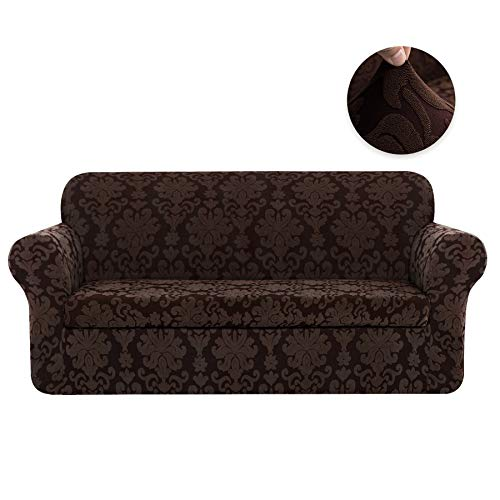 CHUN YI 2-Piece Stretch Jacquard Damask Elegant Collection Sofa Slipcover Easy Fitted Couch Cover Stretchable Durable Furniture Protector (Sofa, Chocolate) ()