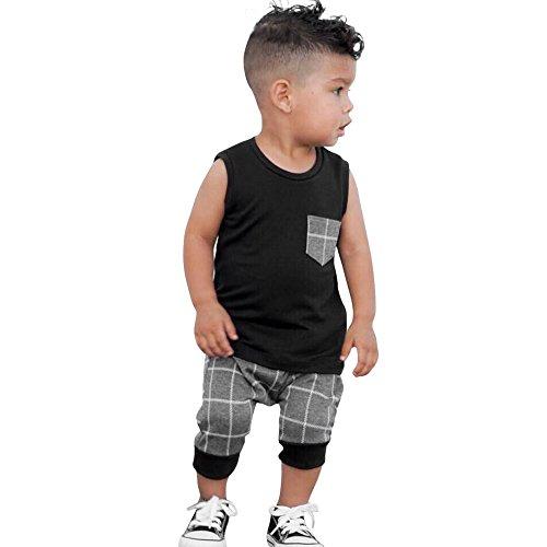 Baby Sleeveless Pocket Tank Tops Plaid Harem Pants Outfits Set Clothes (3T, Black) ()