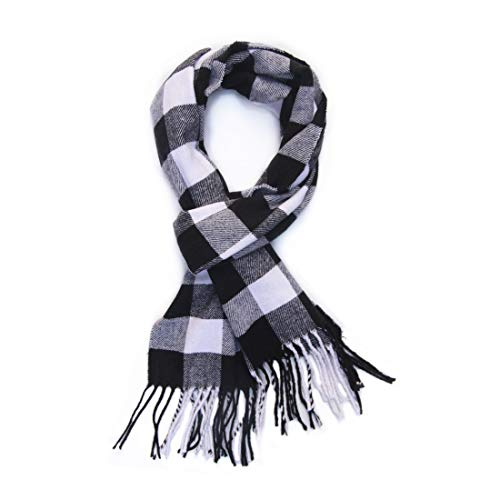 SAFERIN Super Soft Classic Cashmere Feel Plaid Check Winter Warm Scarf(Square-Black White) ()