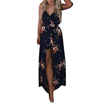 Jushye Women Sleeveless Jumpsuit, Ladies Summer Flower Party Playsuit Romper Beach Trousers Dress V Neck Floral Printing Rompers (S, Black)