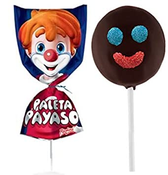 Authentic Sabores - Imported Mexican Marshmallows Lollipop With Chocolate and Gummies - Paleta Payaso 4ct.