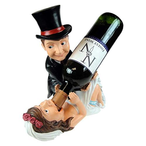 11.25 Inch Bride and Groom Guzzler Wine Holder Statue Figurine
