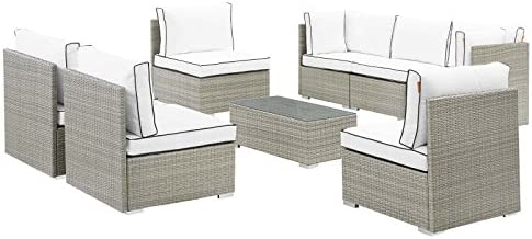 Modway EEI-3012-LGR-WHI-SET Repose Outdoor Patio Sectional Set, 8 Piece, Light Gray White
