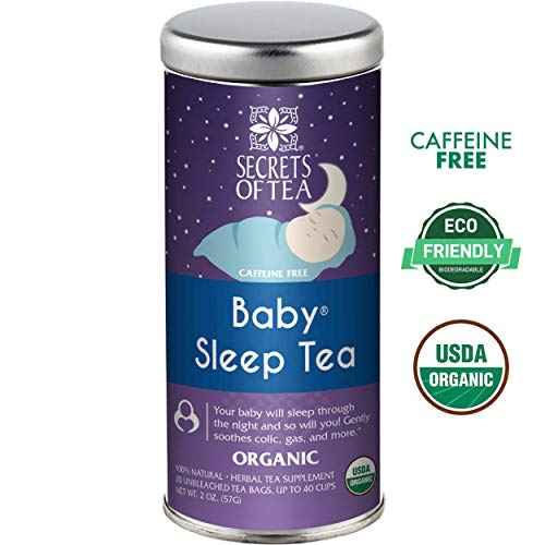 Baby Sleep Tea- FDA Approved  & USDA ORGANIC Baby Colic, Gas & Acid Reflux Relief- MUST BE USED 3 TO 4 TIMES A DAY- 20 Sanitized & Unbleached Sachets-Don't expect a Teavana Taste but great results!