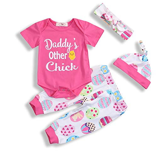 4Pcs Baby Girl Easter Outfits Sets Daddy's Other Chick Easter Egg Easter Chick Print Romper Pants Hat Headband 0-18M (Pink, 6-12 Months)]()