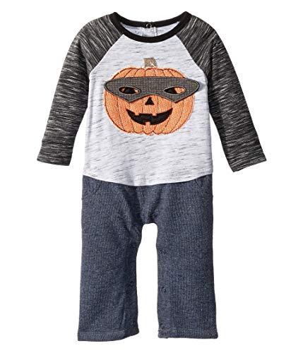 Mud Pie Baby Boys Halloween Pumpkin Long Sleeve One Piece Playwear Set, Gray, 3-6 Months