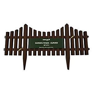 Green Jem Curved Garden Fence, Brown, Pack of 4
