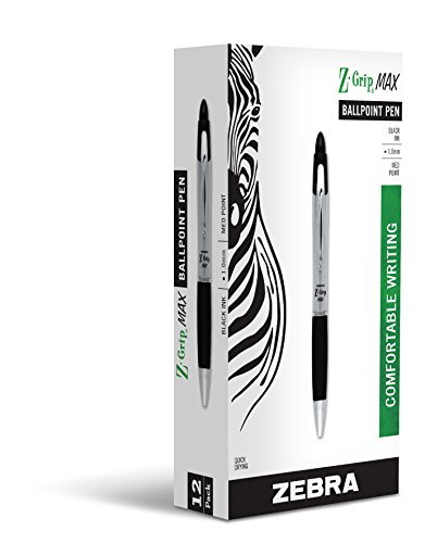 Zebra Z-Grip MAX Retractable Ballpoint Pen, Medium, 1.0 mm, Clear Barrel, Black Ink (22410)