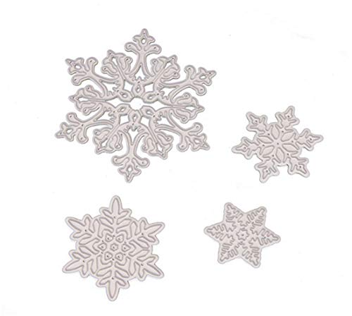 Templates Card Craft (Mvchif Cutting Dies Metal Stencils Scrapbooking Tool DIY Craft Carbon Steel Embossing Template for Paper Card Making (Set of 4 Pcs Snowflake))