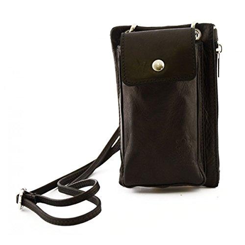 Mini Bolso Unisex Con Bolsillo Para Smartphone Color Negro - Peleteria Echa En Italia - Bolso Hombre