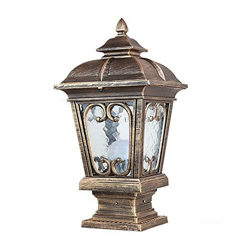 Park Style Patio Lamp - DFEIL Modern Outdoor Transparent Glass Bollard Pillar Light Garden Vintage Fence IP65 Waterproof Door Column Lamp Villa Patio Lawn Park Stigma Post Lantern E27 (Color : Bronze)