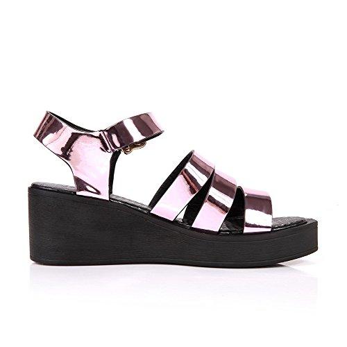 Amoonyfashion Womens Kattunge-häl Fast Spänne Lackläder Öppen Sandaletter Rosa