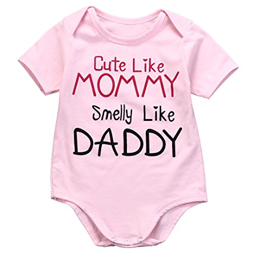 Magical Baby Girls Short Sleeve Cute Like Mommy Smelly Daddy Bodysuit 700 6M Pink