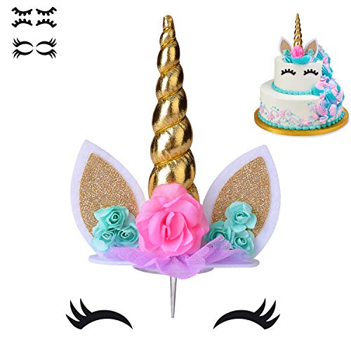 COONOE, Unicorn Cake Topper,Handmade Party Cake Decoration Supplies with multiple Eyelashes,Reuasble Gold Horn for Birthday Party,Baby Shower&Wedding (Cake Kids Topper Birthday)