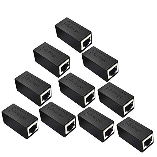 RJ45 Coupler in-Line Coupler Cat7 Cat6 Cat5 Cat5e Network Cable Extender Adapter, Support 100BASE-TX (10 Pack)
