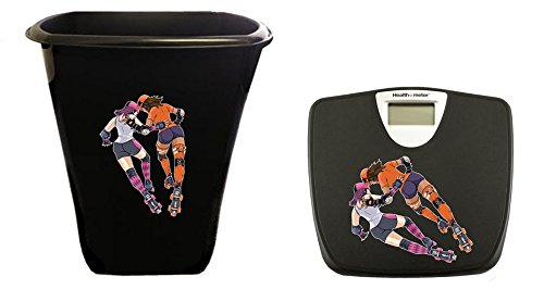 New 2 Piece Seat Included Black Finish Trash Can Waste Basket and Digital Bathroom Scale featuring Roller Derby Girls Logo