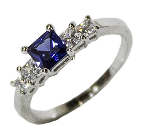 - Women's Rhodium Plated Dress Ring Princess Cut Sapphire CZ 098 (10)