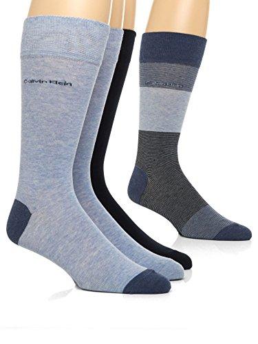 Calvin Klein Men's Blocked Micro-Stripe Crew Socks - 4 Pack, Denim Heather Assorted, Large Calvin Klein Wool Jeans