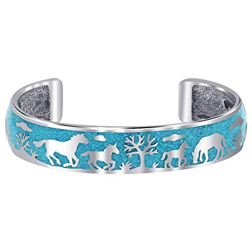 Gem Avenue 925 Sterling Silver Wild Mustang Storyteller Cuff Bracelet with Turquoise Chip Inlay