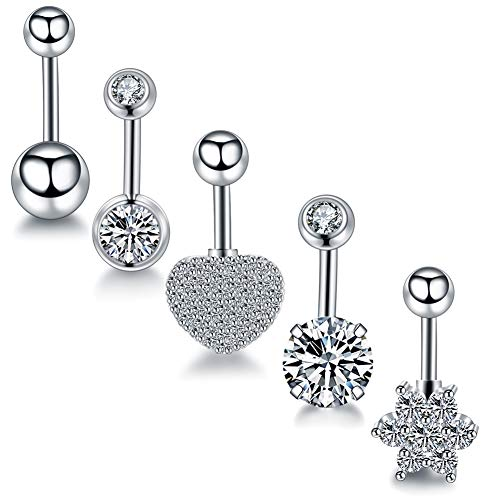 Barbell Style Belly Ring - Xpircn 14G Stainless Steel Belly Button Rings CZ Navel Rings Barbell Women Girls Body Piercing Jewelry Mixed Style 5PCS