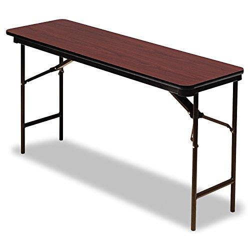 Iceberg ICE55274 Premium Wood Laminate Folding Table with Brown Steel Legs, 18