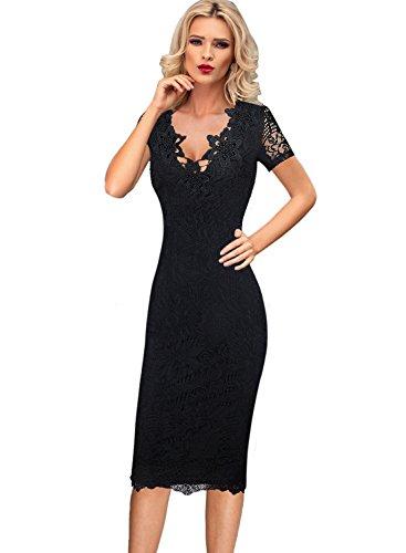 Vfemage Womens Sexy Elegant 3D Crochet Flower Lace Party Bodycon Dress