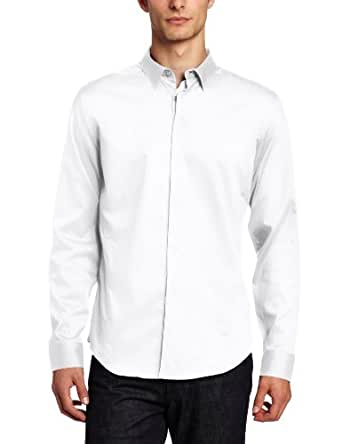 Calvin Klein Men's Long Sleeve Window Pane Dobby Shirt, White, X-Large
