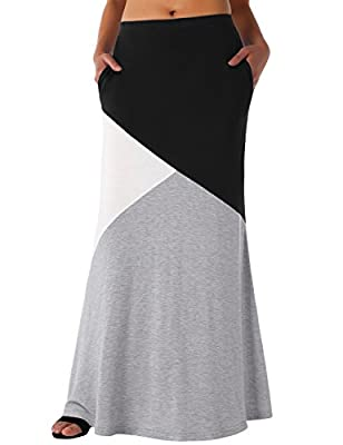 DJT Women's Rayon Span Stylish High Waisted Maxi Skirt - Color Block