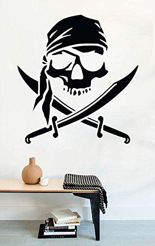 FSDS Vinyl Wall Decal - Pirate Logo Jolly Roger Skull Swords - Home Decor Sticker Vinyl -