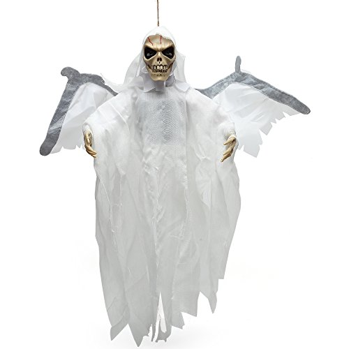 Crusar Animated Hanging Floating Skeleton Ghost Voice Activated Scary Spooky Halloween Prop Decoration