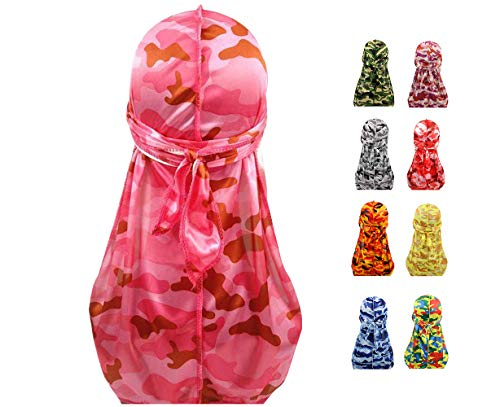 - Sejardin Colorful Military Camouflage Waves Long Tail Caps Bandana Turban Silky Durag Headwraps for Men and Women (Pink)