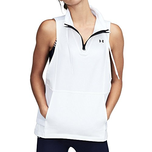 Under Armour Women's Mixed Media Woven Vest, White/Black, Medium