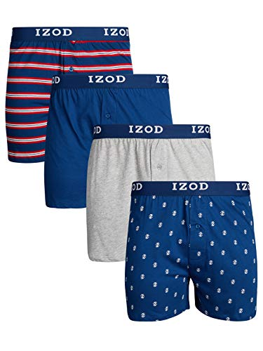 IZOD Mens Cotton Knit Boxers 4-Pack, Red/Blue, Size Large ()