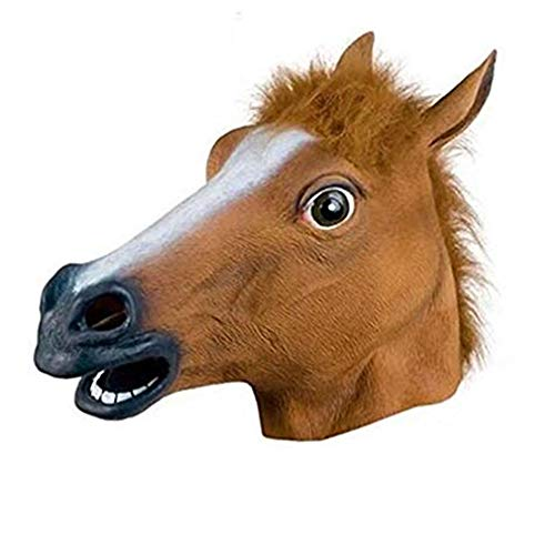 Unicorn Horse Mask Halloween Costume Party Latex Animal Horse Head Mask Adults & Kids Brown -