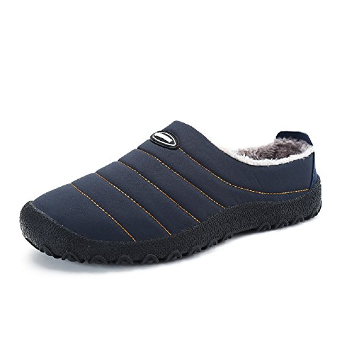Men Women Snow Shoes Winter Slip On Faux Fur Warm Lined Boots High Top Closed Cotton Shoe Waterproof Anti-Slip Slippers Blue-1