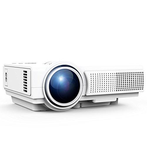 TENKER Q5 Projector, 1500 Lumens LED Mini Projector Support 1080P HDMI USB TF VGA AV, Multimedia Home Theater LCD Video Projector, White