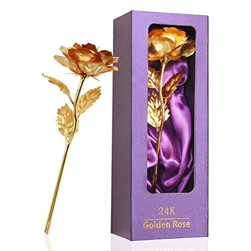 Women Gifts, Gold Rose Flower Present 24K Golden Foil with Luxury Gift Box Great Gift Idea for Valentine's Day, Mother's Day, Thanksgiving Day, Christmas, Birthday, Anniversary (Best Valentines Gift Ideas)
