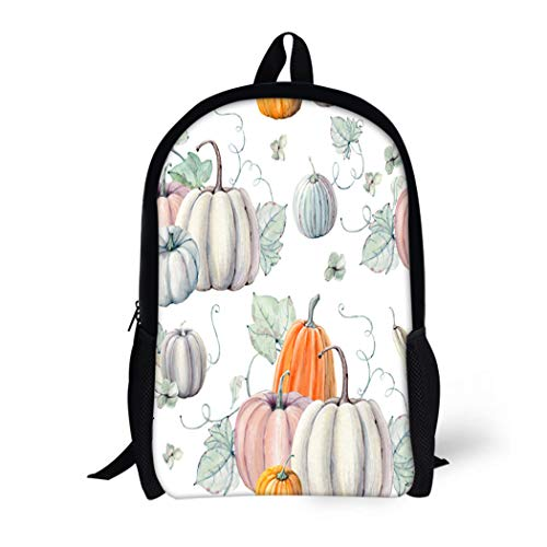 Pinbeam Backpack Travel Daypack Pattern Watercolor Pumpkins It Is Thanksgiving Halloween Recipe Waterproof School -