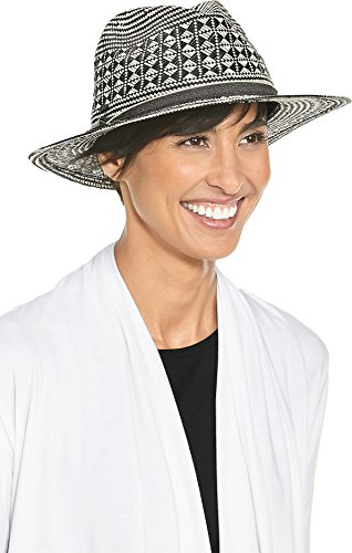 Coolibar UPF 50+ Women's Toyo Fedora - Sun Protective (One Size- Black Small Stripe)