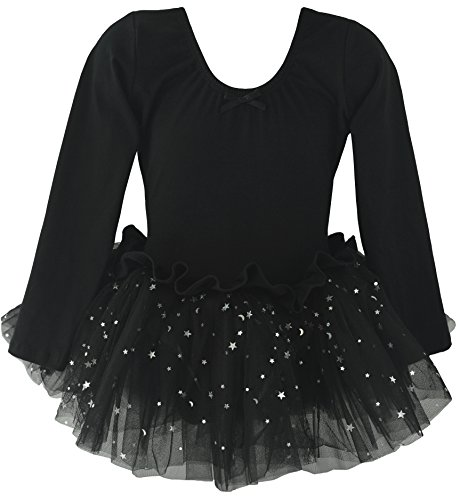 Ballerina Leotard (Dancina Leotard Sparkle Tutu Dress Long Sleeve Cute Little Girls Cotton Ballet Dance Outfit 4 Black)