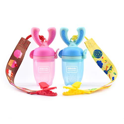 - Aibaolo Baby Food Feeder Pacifier (2 Pack) with 2 Pacifier Clips - Fresh Fruit Feeder Infant Fruit Teething Toy in Appetite Stimulating Colors(Blue and Pink), Silicone Pouches for Toddlers & Kids