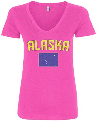 [Threadrock Women's Alaska Flag V-neck T-shirt S Hot Pink] (Alaska Womens Pink T-shirt)