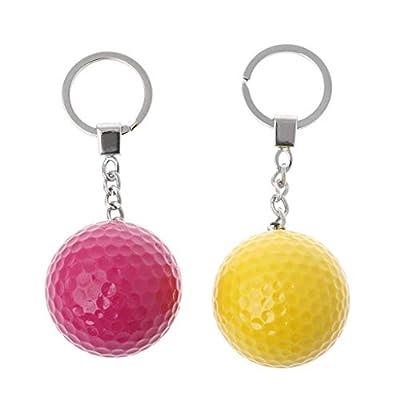 honuansortory 2pcs Colorful Golf Ball Keychain, Round Shape Key Ring Golf Sports Souvenir, Random Color